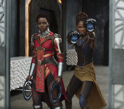 Marvel Studios' BLACK PANTHER L to R: Nakia (Lupita Nyong'o) and Shuri (Letitia Wright) Ph: Film Frame ©Marvel Studios 2018